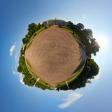 Kuskovo Estate. Global 360° little planet panoramic view of garden between the Orangerie and the Palace in Kuskovo Estate. The Palace of Kuskovo, the Orangerie Royalty Free Stock Images