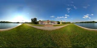 Kuskovo Estate. 360° panoramic view of Kuskovo Estate. The Palace of Kuskovo at foreground. Church of the Merciful Saviour in Kuskovo at background. Kuskovo Stock Photos