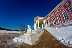 Sphinx and palace in Kuskovo Stock Images