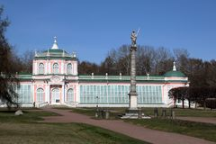 The Large Stone Orangery with an obelisk in Kuskovo manor stock photos
