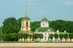 Kuskovo. Moscow, Russia. The church of the all-merciful saviour and bell tower Royalty Free Stock Images