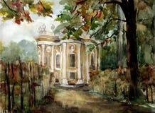 Kuskovo Palace. Kuskovo manor of the Counts Sheremetev. Moscow, Russia. Watercolor Royalty Free Stock Photos
