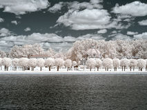 Kuskovo. Palace pond and Grotto. infrared photography Royalty Free Stock Image
