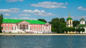 Kuskovo palace. Vacationers go boating about Kuskovo palace stock video footage