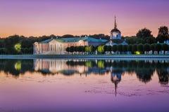 Kuskovo park w Moskwa przy zmierzchem obrazy stock