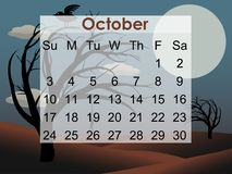 kuslig oktober för 2010 kalender tree stock illustrationer