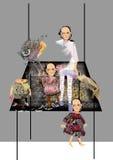 Kusliga barn som står på en enorm tabell Royaltyfria Foton