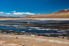 Kusliga kulöra sjöar i vägen till Paso de Jama, norr Chile Arkivbilder