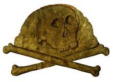 Kusliga skalle- och korsben Arkivfoto