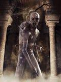 Kusligt monster i en mörk krypta royaltyfri fotografi