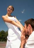 Kuss einer Erklärung der Liebe. Stockfoto