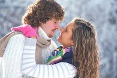 Kuss im Winterpark Stockbild