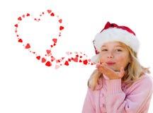 Kussen van het de liefdehart van het meisje de blazende Stock Afbeelding