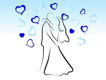 Kussend huwelijkspaar Stock Afbeelding