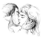 Kussend paar in liefde, zwart-witte hand getrokken illustratie Royalty-vrije Stock Foto