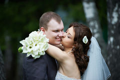 Kussende bruid en bruidegom Stock Afbeeldingen