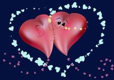 Kussende harten Royalty-vrije Stock Afbeeldingen