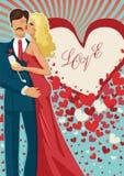 Kussende paar abd vliegende harten Royalty-vrije Stock Afbeelding