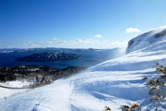 Kussyaro Lake from Bihoro Pass in winter,Hokkaido,Japan Stock Photo