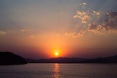 kust över solnedgång Arkivbilder