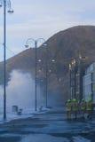 Kust- översvämma Aberystwyth Arkivbild