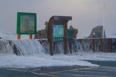 Kust- översvämma Borth arkivbilder