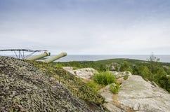 Kust- artilleri Hemso Sverige för kalla kriget Royaltyfri Foto