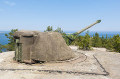 Kust- artilleri Sverige för kalla kriget Royaltyfri Bild