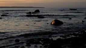 Kust av Östersjön som är upplyst vid inställningssolen stock video