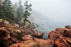 Kust av Atlanticet Ocean i dimman Fotografering för Bildbyråer