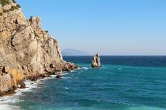Kust av den Crimean halvön nära Yalta arkivbilder