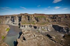 Kust av den isländska floden Jokulsa en Fjollum Royaltyfri Fotografi