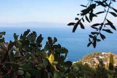 Kust av det Ionian havet nära den Taormina staden Royaltyfri Bild