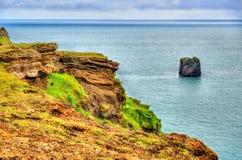 Kust av Dyrholaey udde - Island Arkivbilder