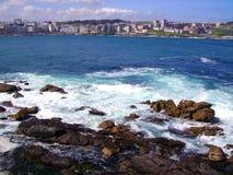 Kust av en Coruña, Spanien Arkivbild