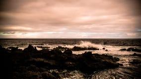 Kust av fjärden av Pombas aka duvor, biscoitos, Terceira ö, Azores, Portugal Arkivbilder