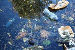 Kust av floden som förorenas med plast- arkivfoton