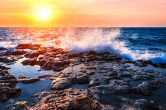 Kust av havet på solnedgången Royaltyfri Fotografi