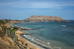 Kust av Lima, Peru Arkivfoto