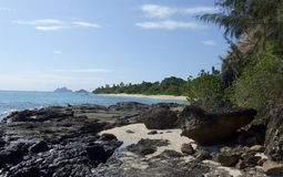 Kust av Mana Island, Fiji royaltyfria foton