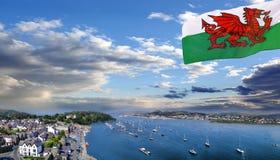Kust av Wales med den Conwy fjärden i Förenade kungariket Royaltyfria Bilder