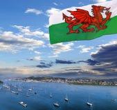 Kust av Wales med den Conwy fjärden i Förenade kungariket Royaltyfri Bild