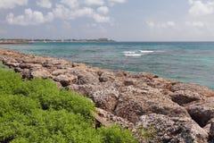 Kust-, Carlisle fjärd och hav Bridgetown Barbados Arkivfoton