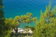 Kust dichtbij door Makarska Stock Afbeelding