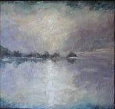 Kust- dimma över floden, olje- målning stock illustrationer