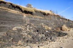 Kust- erosion på stranden av Burry port Royaltyfri Bild