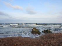 Kust för baltiskt hav och härliga stenar, Litauen Royaltyfri Bild