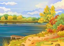 Kust för flod för höstlandskap utomhus Arkivbilder