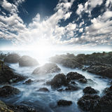 kust för hav för strandhav stenig Royaltyfria Foton