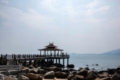 Kust het landschaps veelbelovende vooruitzichten HaiTing van Lingshui van het grenseiland Royalty-vrije Stock Foto